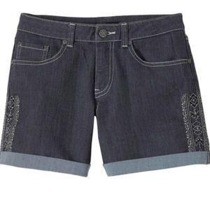 PRANA Gray Kara Embroidered Aztec Shorts Size 0